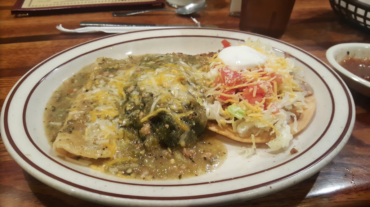 stuffed poblano green chile, cheese enchilada, tostada